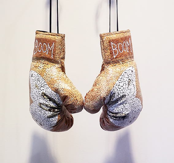 Boxing gloves decorated with eggshells by MyLoan Dinh