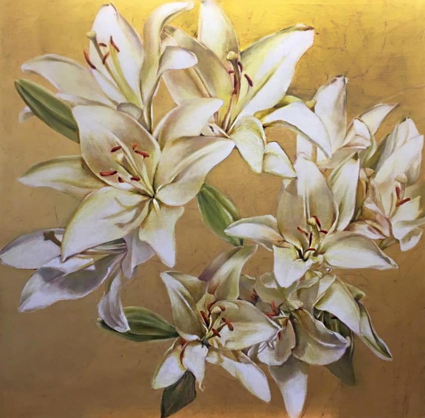 Painting of white lillies overlaying a golden background by Stephanie Neely