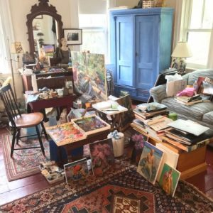 Grant Drumheller's studio at home during COVID-19