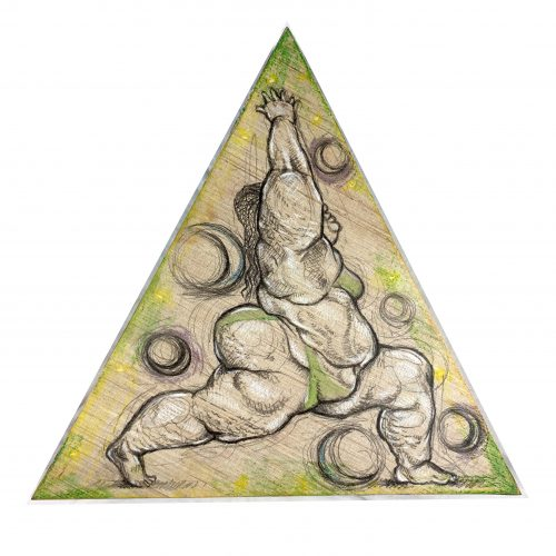 Triangular shaped artwork by Lo'Vonia Parks, yoga crescent lunge pose,pose, charcoal and pastel on panel and Luan wood