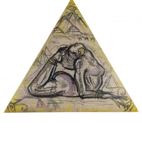 Triangular shaped artwork by Lo'Vonia Parks portraying Feet to the Head Sphinx Pose, charcoal and pastel on panel and Luan wood